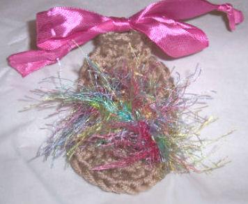 Crochet Sandals for a Baby Girl w. Eyelash Yarn and Ribbon