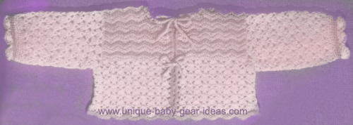 Vintage crochet baby sweater pattern with scallops picot crocheted ties.