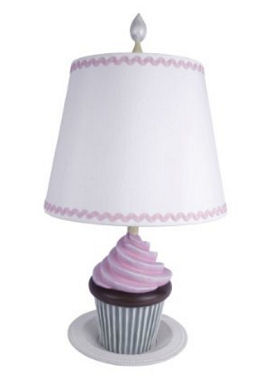 Pink white and brown chocolate cupcake baby nursery table lamp perfect for a baby girl room