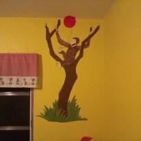 Curious george baby nursery wall murals for Curious george mural