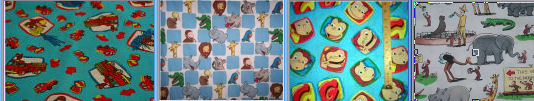 curious george fabric cotton yards quilting zoo animal firetruck faces