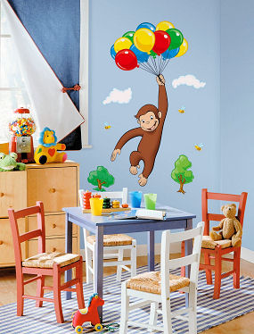 Curious george wall decal t wall decal for Curious george giant wall mural