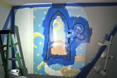 Rocket Ships and Astronaut Baby Nursery Wall Mural