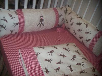 Custom sock monkey fitted crib sheet and bumper pad