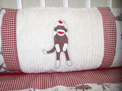 Sock Monkey baby crib bumper applique