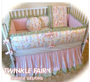 Custom DIY homemade upon a time fairy tale storybook baby nursery crib bedding set