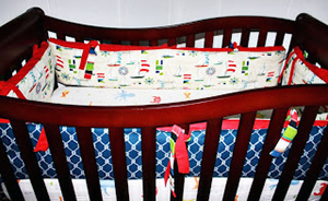 DIY homemade custom nautical theme ocean creatures baby crib bedding set