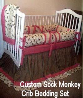 Custom sock monkey baby crib bedding set for a baby boy or girl nursery room