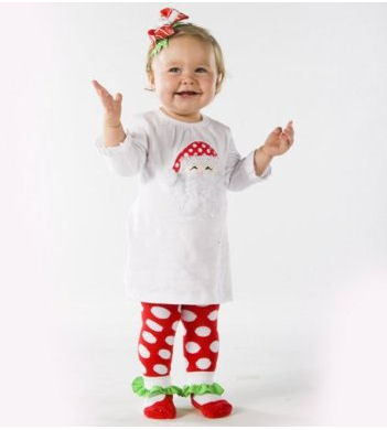 Cute Polka Dot and Candy Cane Stripe Santa Claus Theme Christmas Outfit for a Baby Girl