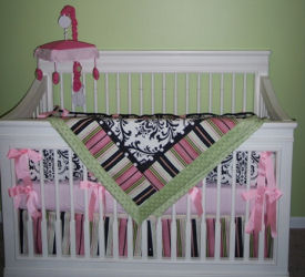 hot pink white black lime green damask baby crib bedding set girls nursery