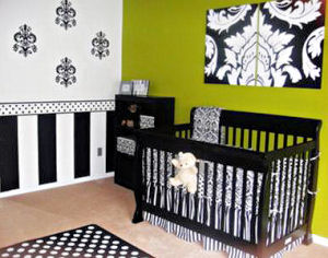 Black and white damask baby girl nursery with polka dots and stripes