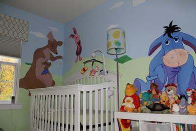 Here we see Eeyore and friends keeping watch over the baby's crib