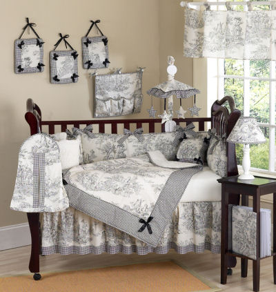 Decorating With Toile Baby Crib Nursery Bedding Sets