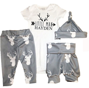Gender neutral deer theme baby outfit for boys or girls coming home to a hunting family