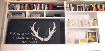 Whitetail deer antlers chalkboard art DIY crafts craft project idea for the baby nursery wall