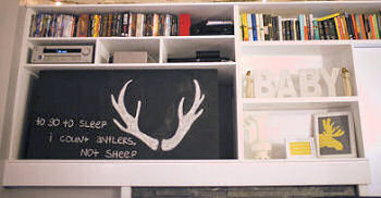 Whitetail deer antlers and quote for a baby nursery wall DIY chalkboard art or decal saying