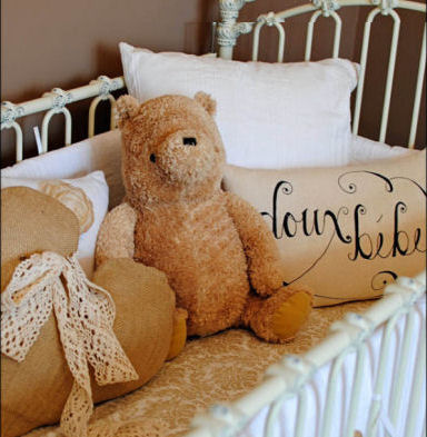 Homemade Pillows in the Baby's Crib