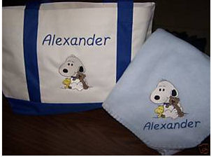blue snoopy baby diaper bags blanket set for boys
