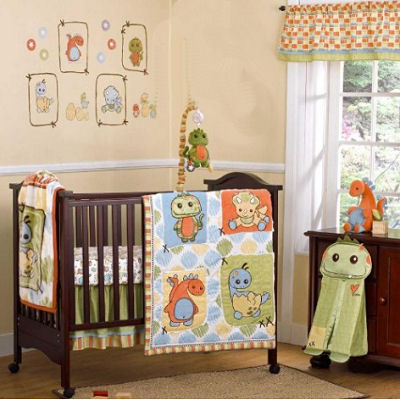 Dinosaur Baby Crib Bedding Nursery Set Decor Decorations Lamp Quilt