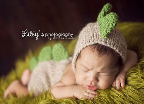 Homemade handmade knit baby dinosaur costume photo prop with hat and diaper cover pants