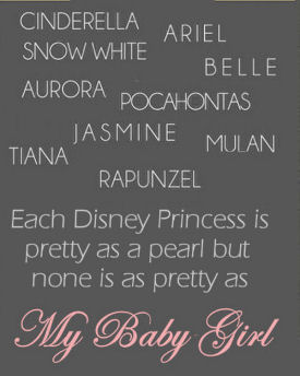 Subway wall art for a baby girl's Disney Princess nursery theme room with all the princess' names included in a wall quote or saying in a pink and grey color scheme