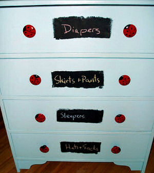 DIY painted ladybug baby dresser ideas for a boy nursery
