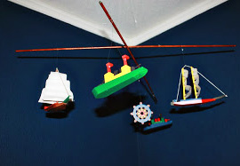 Homemade DIY baby nautical crib mobile with sailboats