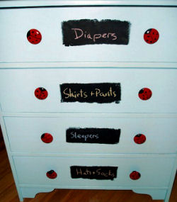 DIY painted ladybug baby dresser and drawer pulls