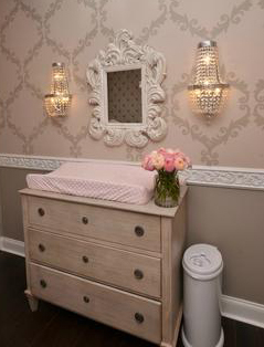 DIY painted white washed baby dresser in a grey and pink rococo baby girl princess nursery design