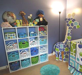 Homemade DIY baby nursery storage cabinet