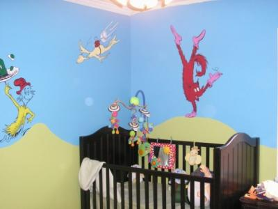 Dr  Seuss Theme Baby Nursery Wall Mural featuring Characters, Fox in Sox, Green Eggs and Ham and More!