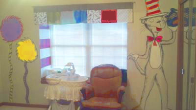 My baby boy's Dr Seuss theme nursery room with Lorax trees, Horton Hears a Who, I Am Sam, Cat in the Hat and Green Eggs and Ham