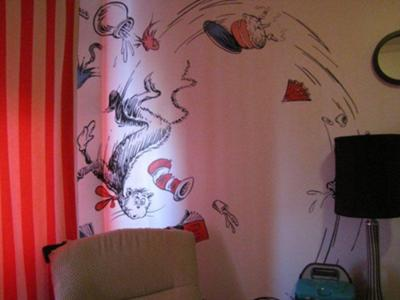 Best Dr. Seuss Themed Baby Nursery Ever with Cat in the Hat, One Fish Two Fish, Horton Hears a Who and Bird from the Sleep Book.