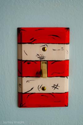 The Dr. Seuss theme custom wall switchplates that I painted myself