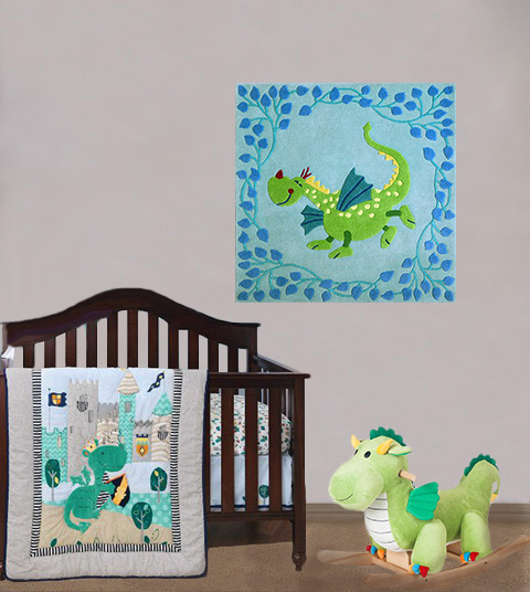 Dragon baby nursery theme decorating ideas with bedding quilt rocker and wall decorations rug