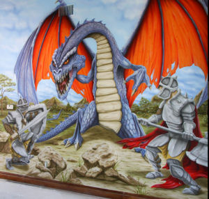 Knights and dragons custom nursery wall mural art
