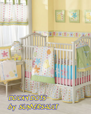 baby yellow polka dots ducks baby nursery crib bedding set
