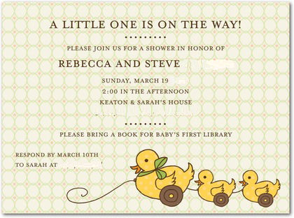yellow rubber duck ducky card baby shower invitation birth announcement