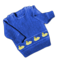 Free baby crew neck sweater knitting pattern with duck embroidery design.
