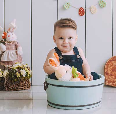 Easter baby boy photo ideas props overalls bunny