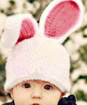Crochet baby Easter hat photo prop with bunny ears