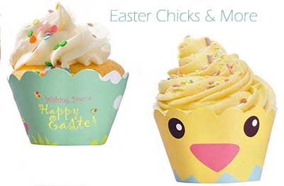 Easter baby shower cupcake wrappers liners baby chicks bunny rabbit quotes