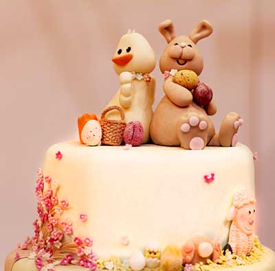 Themed Easter baby shower cake idea yellow duck ducky little lamb bunny rabbit