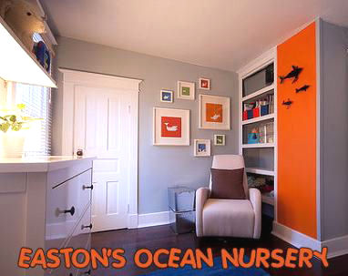 Baby Boy Blue and Orange Ocean Theme Nursery Theme Picture