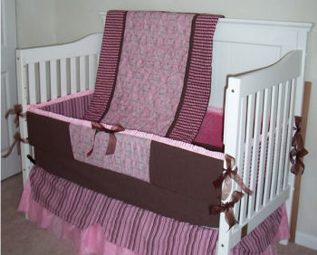 Pink and brown Parisian Eiffel Tower Baby Nursery Bedding Set French Nursery Decor