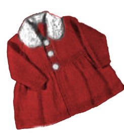 Classic elegant baby girl sweater coat jacket knitting pattern with buttons and faux fur collar trim.