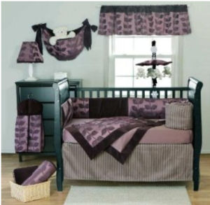 Plum purple black and gray baby crib bedding set for a baby nursery room