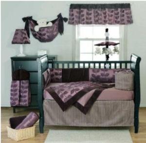 Plum purple black and gray baby crib bedding set for a baby nursery room