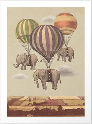 Vintage elephant and hot air balloon baby nursery wall art print