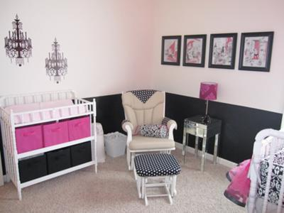 A Parisian Black and Pink Baby Nursery
